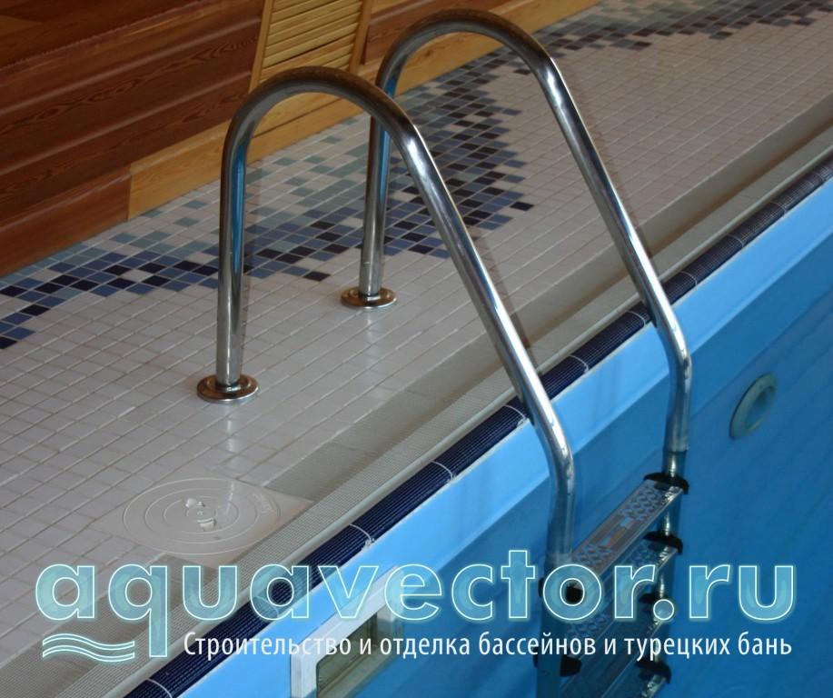 Установка лестниц на широкий борт бассейна
