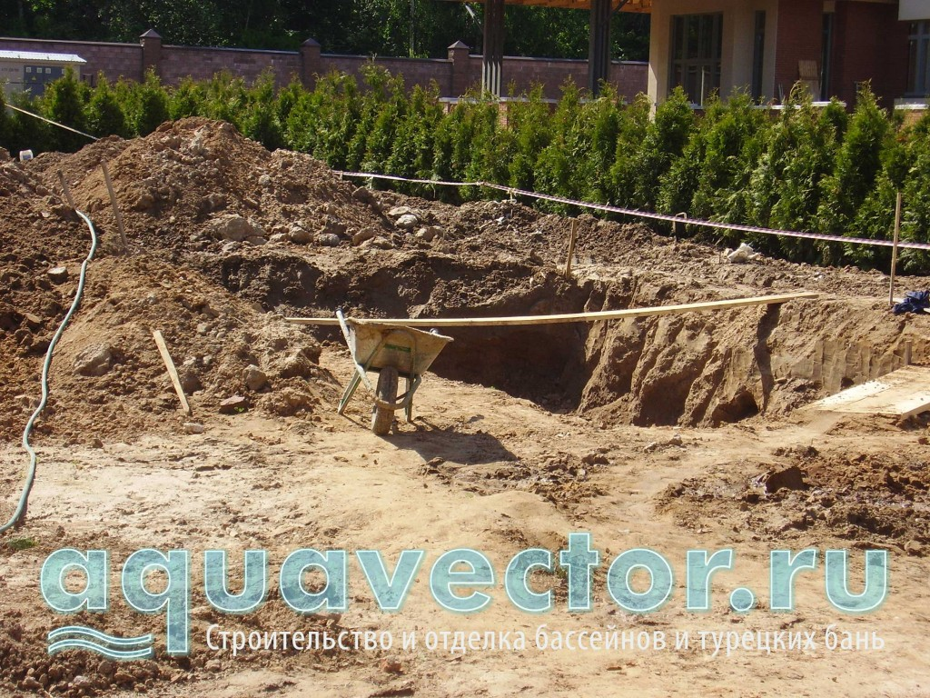 Начало подготовки котлована под бассейн