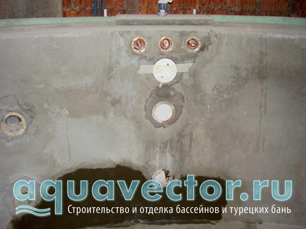 Установка и заливка гидромассажных форсунок в бетонной чаше бассейна