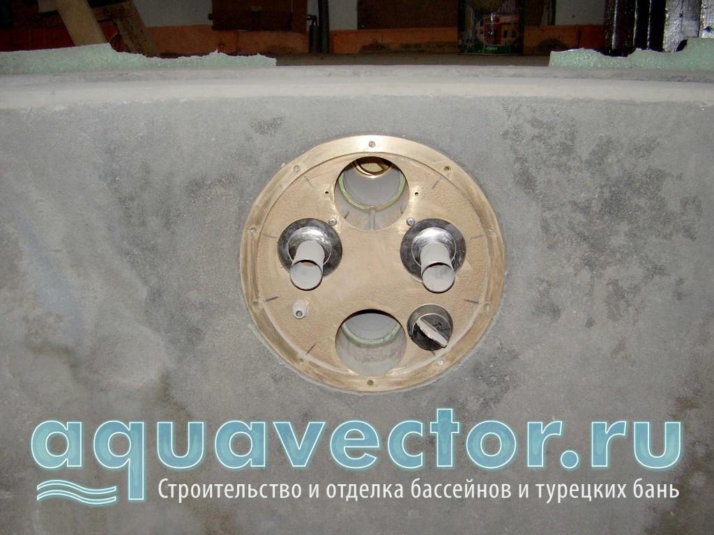 Установка и заливка противотока в чаше бассейна