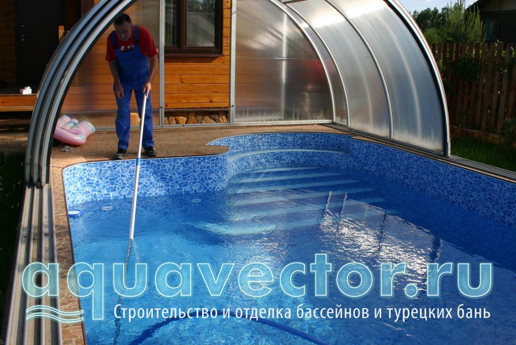 Строительство уличного бассейна под павильоном на Дмитровском шоссе