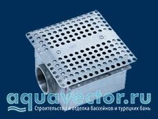 Донный слив из нержавеющей стали для плиточного и плёночного бассейна Pahlen