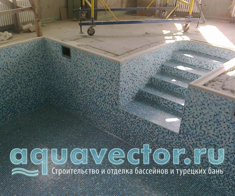 Скиммерный бассейн в расстяжке из мозаики