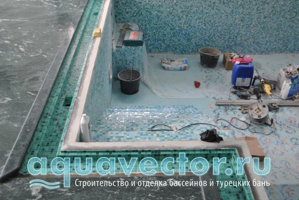 Гидроизоляцию в лотке рекомендуется закрыть плиткой или мозаикой