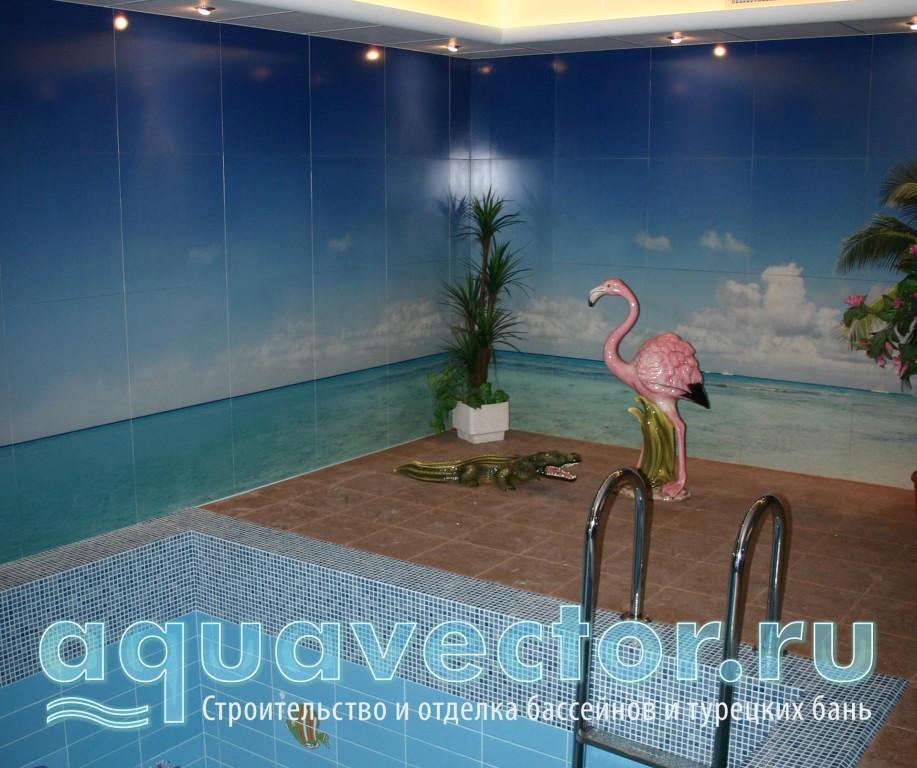 Фотоплитка в помещении бассейна