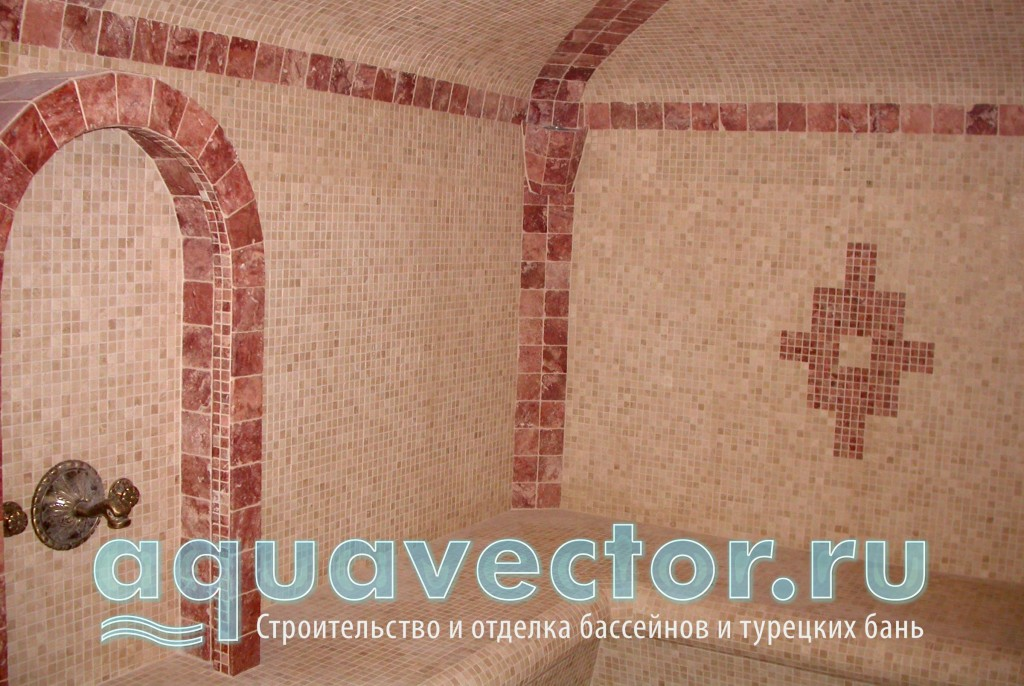 Мозаика травертин в турецкой бане