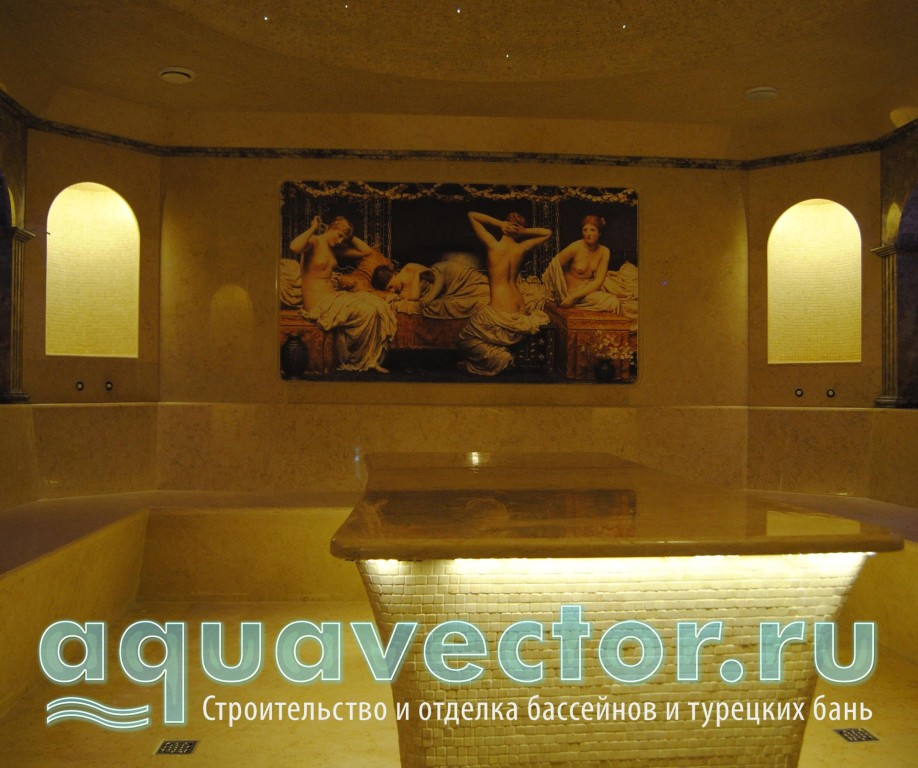 Отделка мрамором в турецкой бане