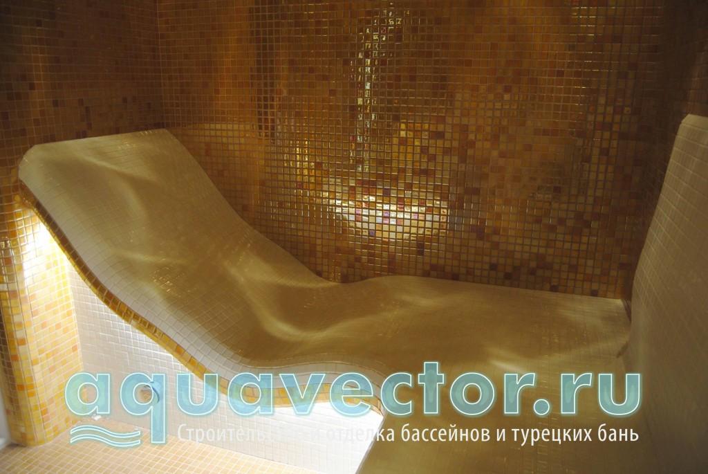 В небольшой турецкой бане лежак плавно переходит в диван