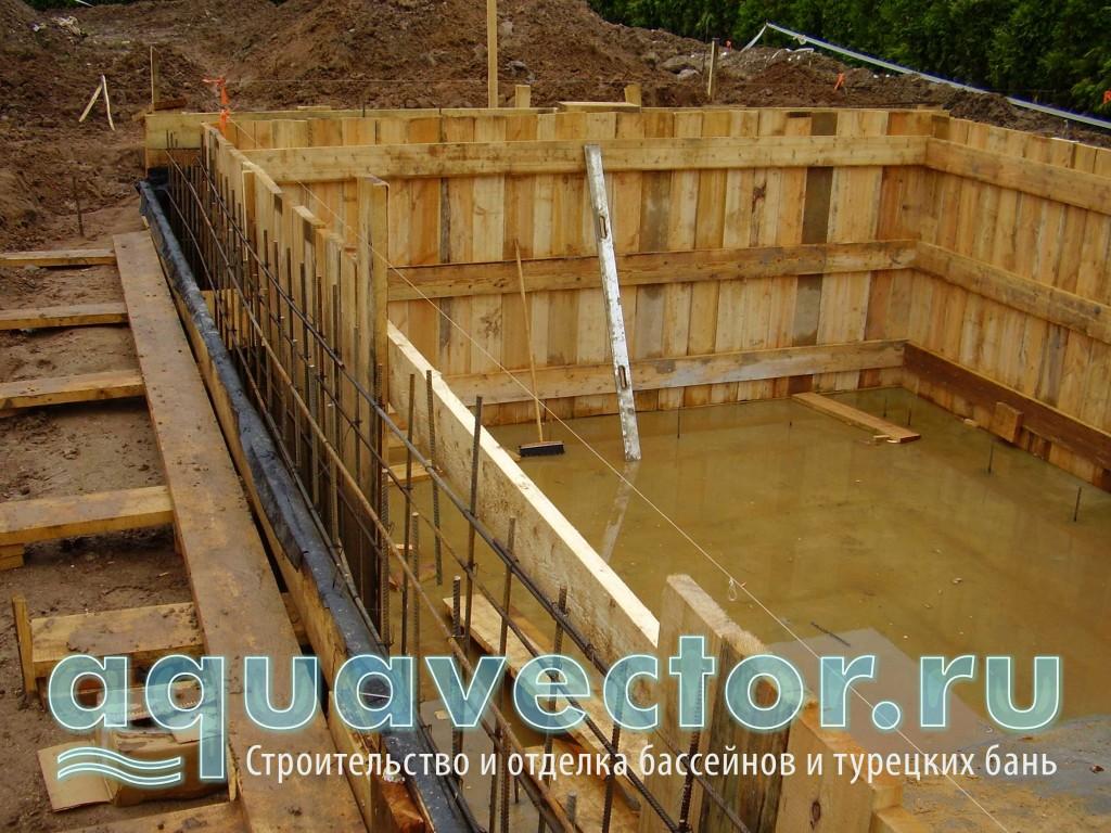 Установка внутренней опалубки для бетонной чаши бассейна