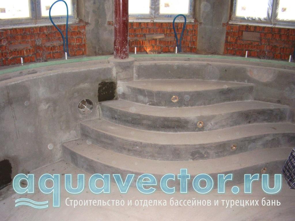 Выравнивание ступеней и заливка фонарей в бассейне