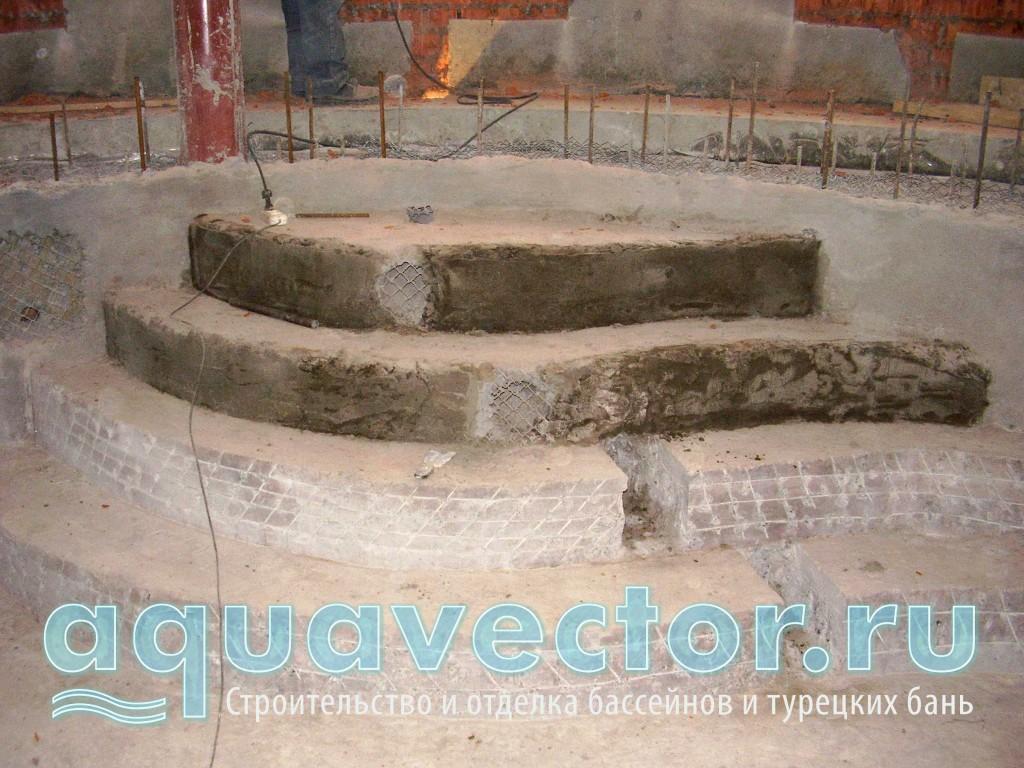 Выравнивание ступеней в бетонной чаше бассейна