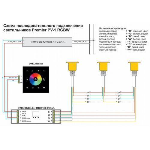 Светильник Премьер PV RGBW подключение